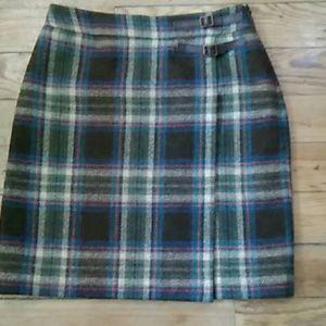 Pre-owned Boden Wool Plaid Kilt Skirt